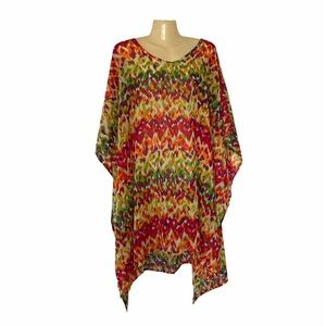 Rays & Waves Multi Color Caftan Coverup One Size